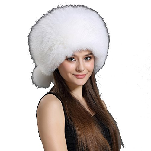 BeFur Real Fur Hat Women Winter Russian Bomber Cap with Tassel