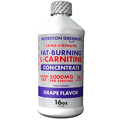 L Carnitine Liquid Extra Strength 5000mg by Nutrition Greenlife (16 fl oz, 16 Servings) Burn Fat & Work Out Longer with Garcinia Cambogia and Artichoke, Grape Flavor