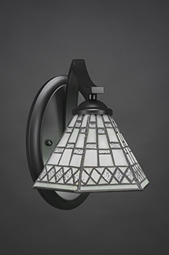 """Toltec Lighting 551-MB-9105 Zilo Wall Sconce with 7"""" Pewter Tiffany Glass, Matte Black Finish"""