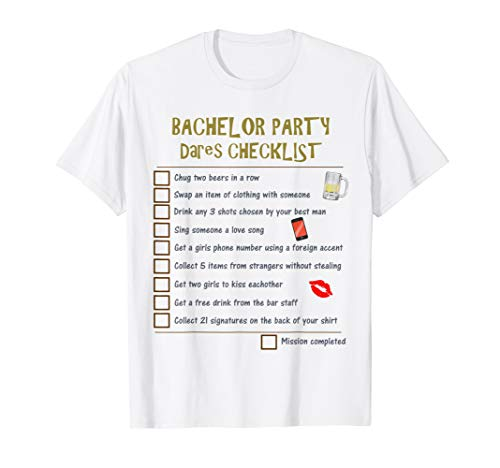 Bachelor Party Checklist | Grooms Stags Night Dares Game T-Shirt]()
