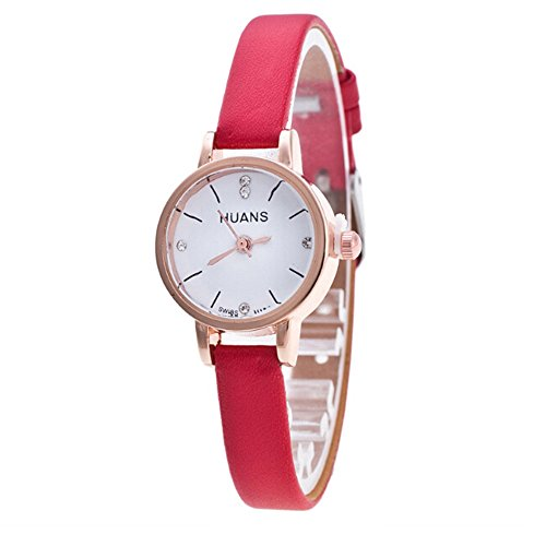 Minimalist Fashion Woman Fine Strap Watch,Outsta Travel Souvenir Birthday Gifts Wrist Watch Bracelet Round Case Wristwatches Clearance Sale! (Red)