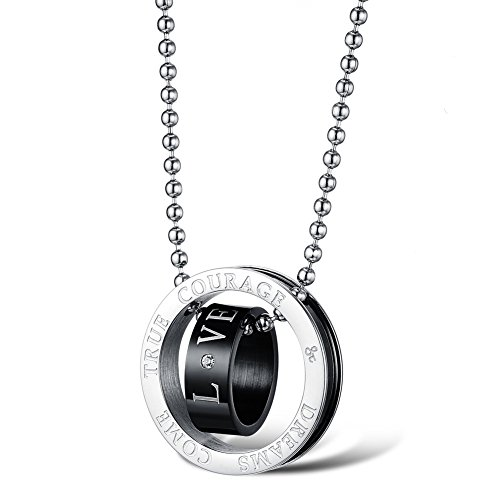 [TUVW Fashion Two Loop Lovers Titanium Steel Necklace(Black)] (Homemade Pirate Costumes Shirt)