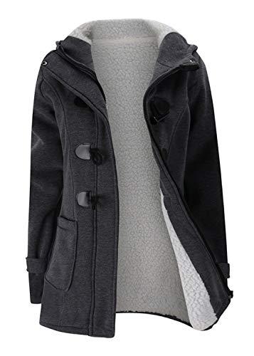 (Women Fleece Lined Hoodie Pocket Button Zipper Cotton Duffle Coat Jacket Top(XL,Dark Gray))