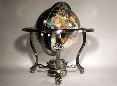 Unique Art 10-Inch by 6-Inch White Jade and Black Onyx Ocean Table Top Gemstone World Globe with Gold Tripod