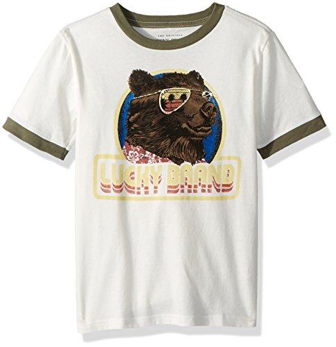 Lucky Brand Toddler Boys' Short Sleeve Graphic Tee Shirt, Marshmallow Cool Bear, 3T