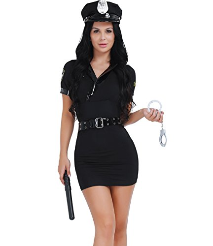 CHICTRY Sexy Women Police Uniform Set Office Cosplay Costume Maid Stewardess Dress for $<!--$28.95-->