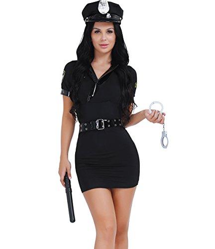 CHICTRY Sexy Women Police Uniform Set Office Cosplay Costume Maid Stewardess Dress