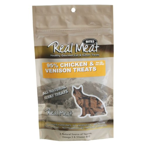 THE REAL MEAT COMPANY 828102 Cat Jerky Chicken/Venison Treat, 3-Ounce