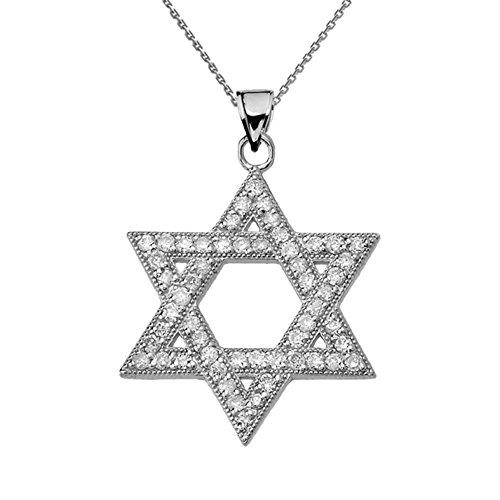 Dazzling Diamond Star of David in 14k White Gold Pendant Necklace, 16