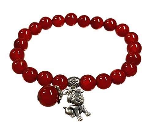 Feng Shui Handmade Chinese Zodiac Red Agate Beads Bracelet and a Gift Pounch with Betterdecor Logo Printed on It (DOG)
