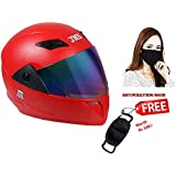 JMD Helmets Trusty Full Face Helmet with Mirror Visor (Red, L)