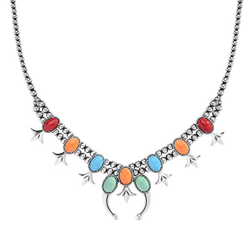 American West Sterling Silver Sz 18 to 21 Inches Multicolor Squash Blossom Necklace ()