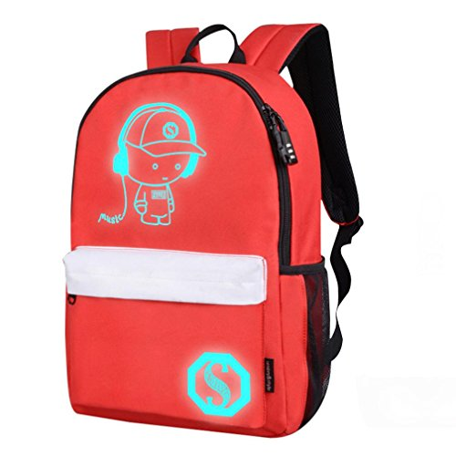 Student Bags Luminous Teenagers Preppy Red Dark School Light Glow Handbag Cartoon Zerototens Noctilucent Unisex Backpack In 4xvwqwPB
