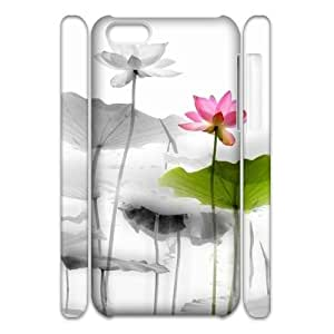 Customized Phone Case with Hard Shell Protection for Iphone 5C 3D case with Beautiful lotus lxa#893848