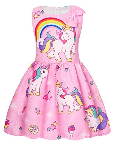 AmzBarley Vestido de princesa fiesta del unicornio Vestidos sin mangas estrellados para ni?os ni?as