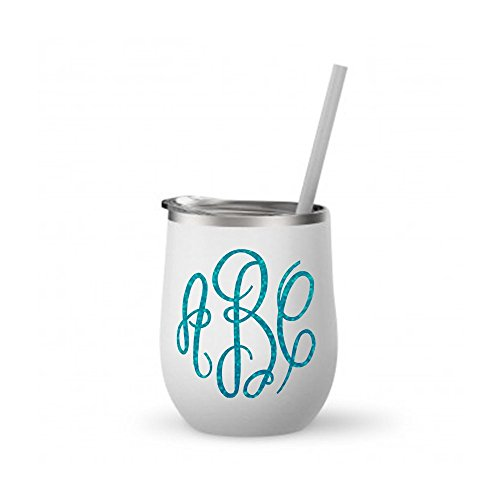 Monogrammed Stainless Steel Wine Tumbler / 12oz Mint or White / with Rose Gold Metallic or Glitter Vinyl Decal