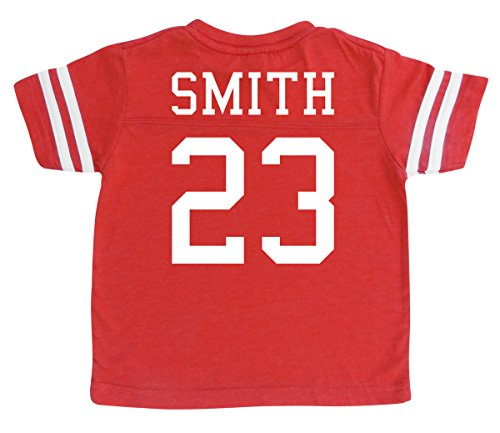 Number Toddler Jersey T-shirt - Custom Football Sport Jersey Toddler & Child Personalized with Name and Number (3T, Vintage Red)