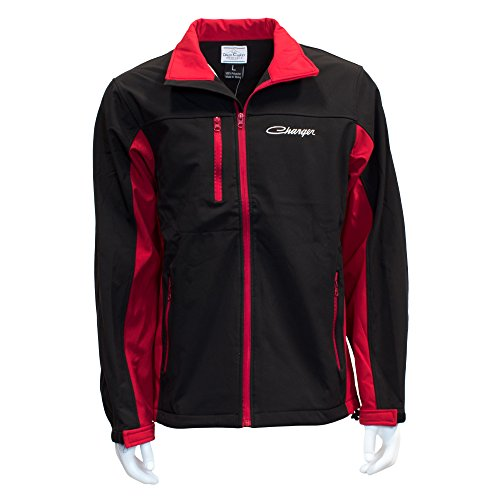 David Carey Dodge Charger Softshell Work Jacket - Red & Black - Lightweight Zip Up Outerwear with Embroidered Applique Logo, XL