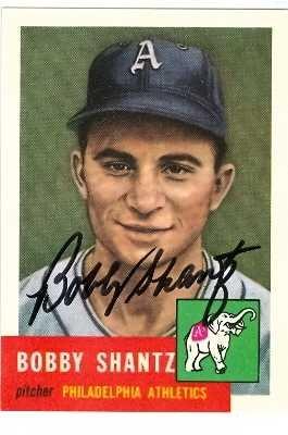 Autograph 120813 Philadelphia Athletics 1991 1953 Topps Archives No. 225 Bobby Shantz Autographed Baseball Card (Bobby Shantz Autographed Baseball)