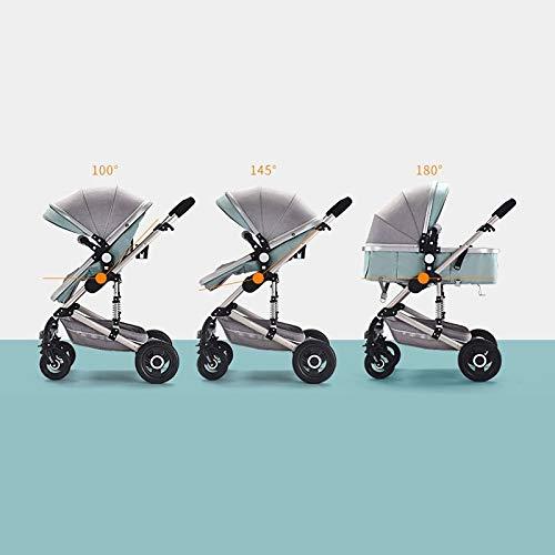 Brun PLDDY landaus Poussette 3-en-1 Antichoc Portable Haute Chariot de Voyage bi-directionnelle Se Pliant multifonctionnelle Assise et couch/ée