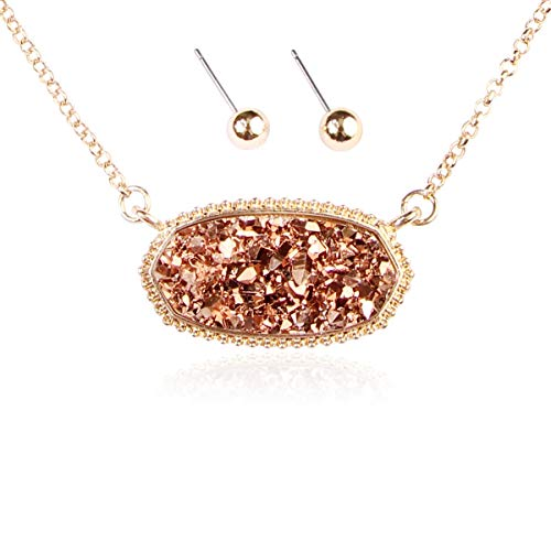 RIAH FASHION Acrylic Faux Druzy Jewel Stone Hexagon Oval Pendant Necklace - Delicate Chain/Sparkly Crystal Beaded Strand (Long Hexagon Chain - Champagne)