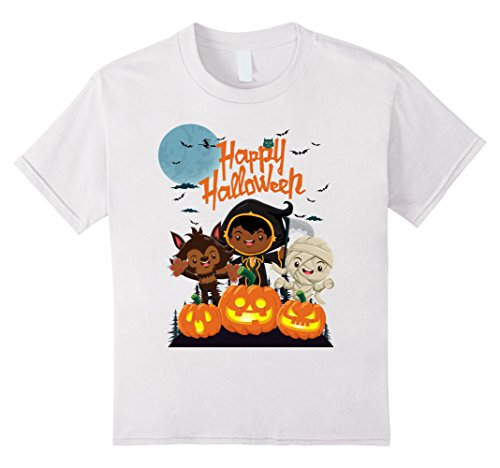 Kids Happy Halloween T-Shirt with Cute Kids and Pumpkins 6 White (Homemade Halloween T Shirts For Kids)