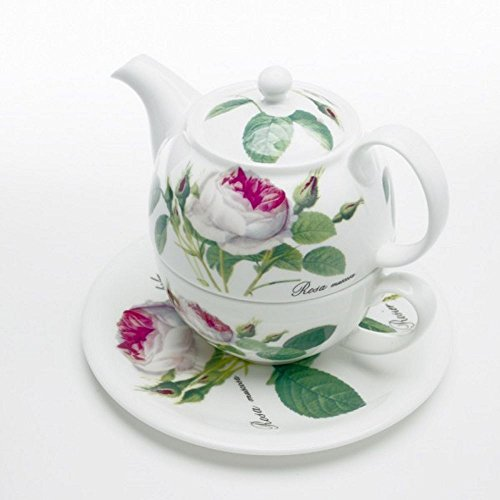 (Roy Kirkham Redoute Rose Tea for One Teapot, Cup & Saucer in Fine Bone China)
