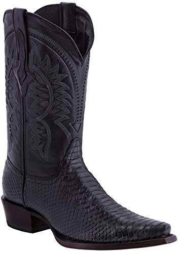 Texas Legacy - Mens Black Snake Western Wear Cowboy Boots Pattern Leather Snip Toe 11.5 D(M) ()