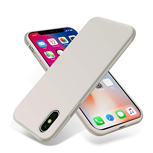 OTOFLY iPhone Xs Max Case,Ultra Slim Fit iPhone Case Liquid Silicone Gel Cover with Full Body Protection Anti-Scratch Shockproof Case Compatible with iPhone Xs Max, (White Stone) (Iphone 5 Stone Case)