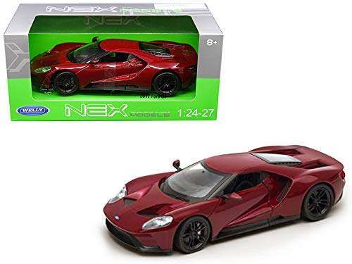 """Welly 1/24 Scale (7"""") 2017 Red Ford GT Licensed Diecast Model Car -  24082R"""