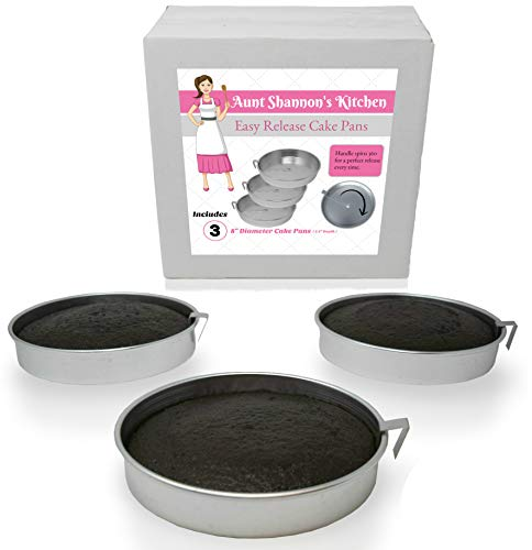 "Aunt Shannon's Easy Release 8"" Cake Pans - Set of 3 Quick Release Pans for Easy Cake Removal Every Time"