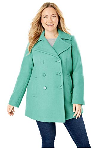 Woman Within Plus Size Wool-Blend Double-Breasted Peacoat - Sweet Mint, 30 ()