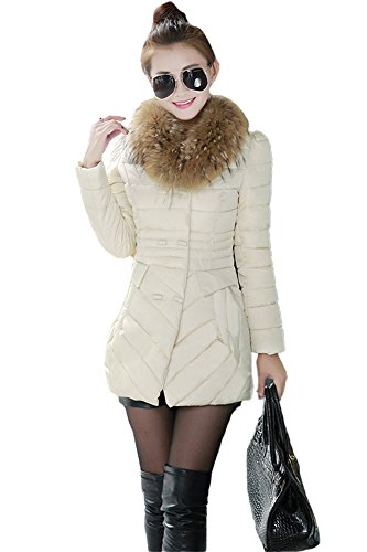 Queenshiny New Style Women's Silk Floss Down Coat with Faux Fur (Faux Silk Coat)