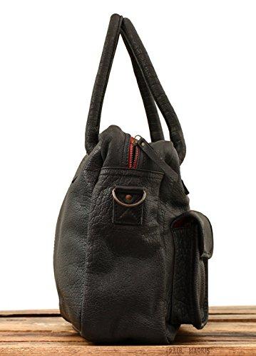 LE vintage sac style pleine cuir Noir buffle MARIUS PAUL de DANDY bandoulière fleur Doré pngrxpwA