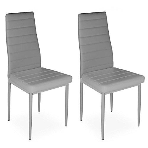 Homelux 2er-Set Stühle Esszimmerstühle Polsterstuhl (T x B x H) 43 x 43 x 97,5 cm Grau