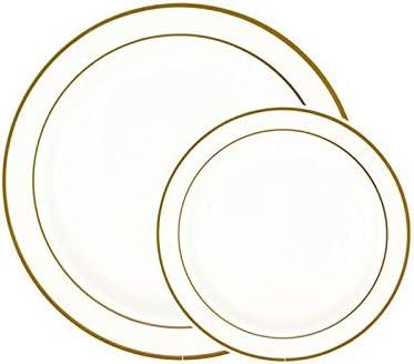 "50Pieces Gold Plastic Plates, White Disposable Plates with Gold Rim, comprises 25 Dinner Plates 10.25"", 25 Dessert Plates 7.5"""