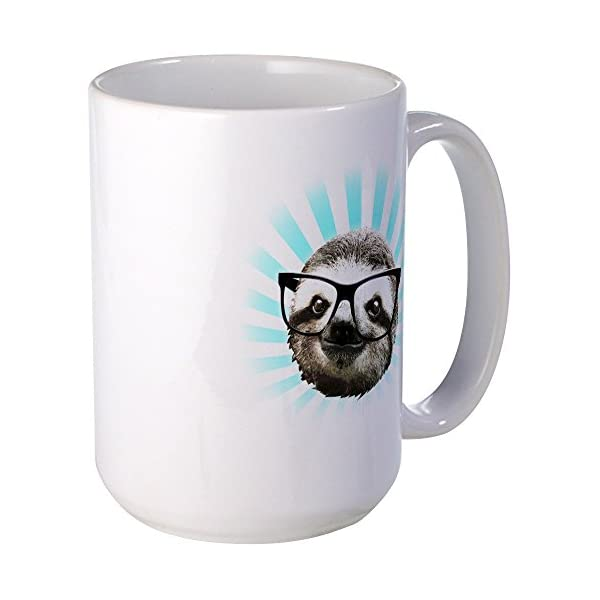 Cafepress Cute! Hipster Sloth Mug Coffee Mug, Large 15 Oz. White Coffee Cup -