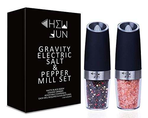 Gravity Electric Salt and Pepper Grinder Set of 2 - Pepper and Salt Mill with...