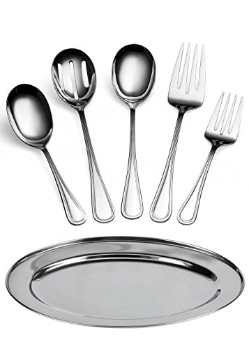 Oval Serving Spoon (Utensil Buffet Flatware Serving Set Deluxe 6 Pc by ChefGiant-Stainless Steel-Spoons, Forks, Slotted Spoon, & Serving Platter-For Home Chef or Commercial Use-Breakfast, Dinner, Wedding Serving Set)