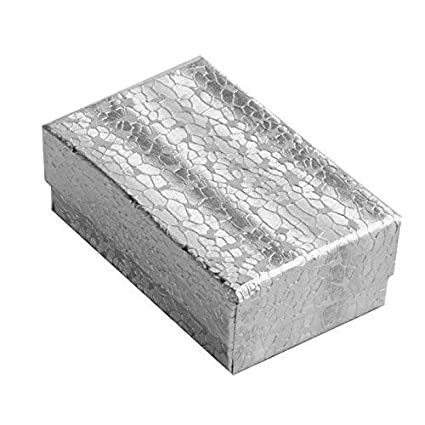 Amazon Com 100 Pcs Silver Cotton Filled Jewelry Display Gift Boxes