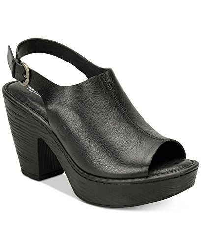 Slingbacks Born (B.O.C Womens Fatema Leather Open Toe Slingback Mules, Black, Size 11.0)