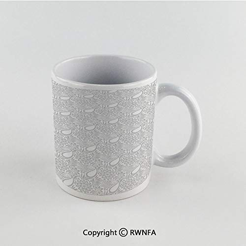 (11oz Unique Present Mother Day Personalized Gifts Coffee Mug Tea Cup White Paisley Decor,Abstract Modern Patterned Background with Flowers Leafs and Ivy Artwork,Grey and White Funny Ceramic Coffee Te)