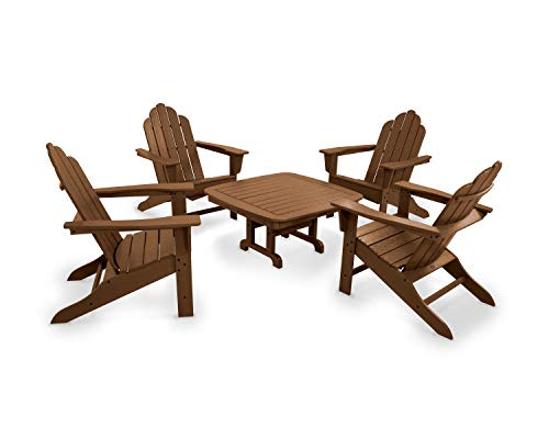 POLYWOOD PWS179-1-TE Long Island 5-Piece Conversation Group Adirondack Seating Set, ()