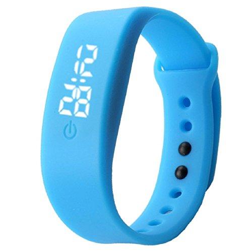 OverDose Damen Herren Gummi LED Uhr Datum Sports Armband Digital Armbanduhr (Blau)