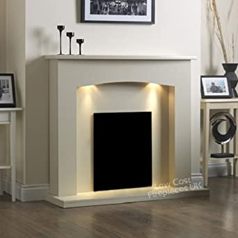 Electric Cream Ivory Modern Wall Freestanding Fire ...