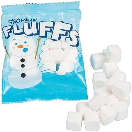 Snowman Fluffs Marshmallow Candy Packs (72 bags) Bulk Winter and Christmas candies
