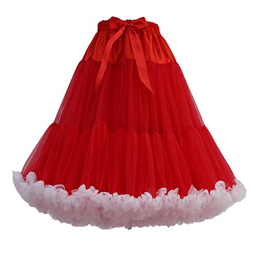 FOLOBE Women's Knee Length 50s Soft Puffy Tutu Skirts Ballet Costume Tulle Underskirts (24 Colors) Redwhite