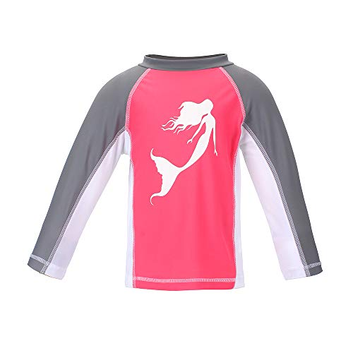 (Girls' Mermaid Long Sleeve Rashguard UPF 50+ Sun Swimming Pool & Beach Kids Toddler Swim Shirt 6)
