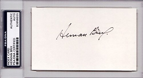 Herman Brix Signed   Autographed Olympic Shot Put 3X5 Index Card   1928 Silver Medalist   Aka Actor Bruce Bennett   Psa Dna Certificate Of Authenticity  Coa   Coa    Psa Slabbed Holder