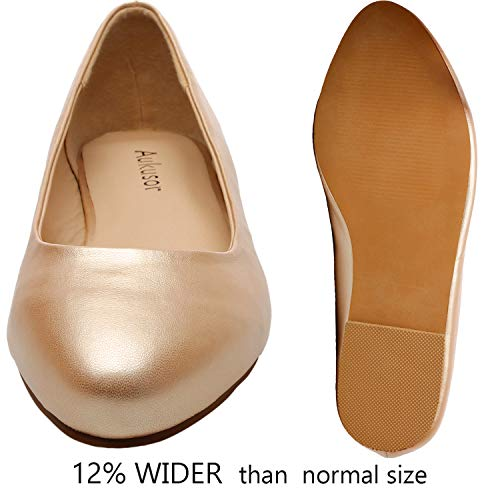 66574fce0c2ea Women's Wide Width Flat Shoes - Comfortable Classic Pointy Toe Slip On  Ballet Flat(Gold 180818,6)